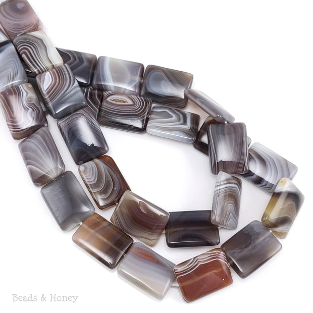 Botswana Agate Bead Rectangle Puff 20x16mm (16-Inch Strand)