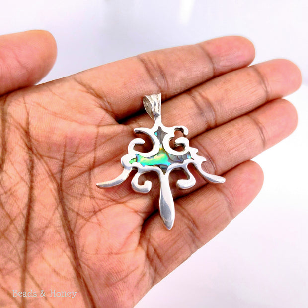 Handmade Sterling Silver Filigree Pendant Inlaid with Abalone Shell 40x35mm (1pc)