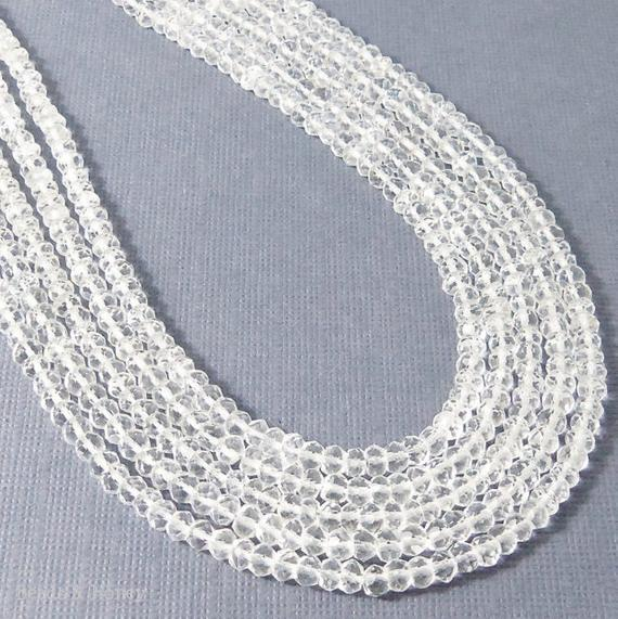 Rock Crystal Quartz Bead Rondelle Faceted 3mm - 4mm (13-Inch Strand)