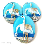 Mosaic Inlaid Shell Cabochon Oval Crane/Long Neck Swan Large 60x45mm (1pc)