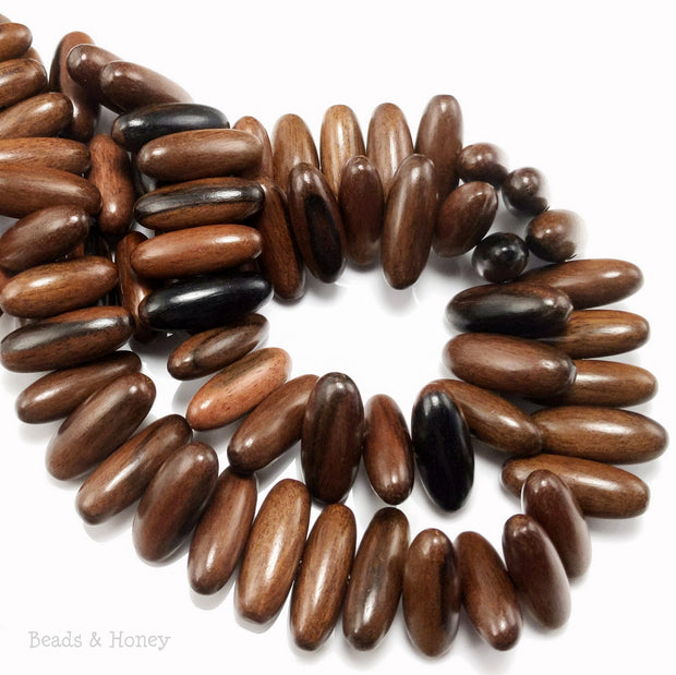 Tiger Ebony Wood Bead Capsule/Oval Tube Side Drill 9x25mm (8-Inch Strand)