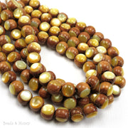 Bayong Wood Bead with Gold Mother of Pearl Inlay Round 8mm (8-Inch Strand)