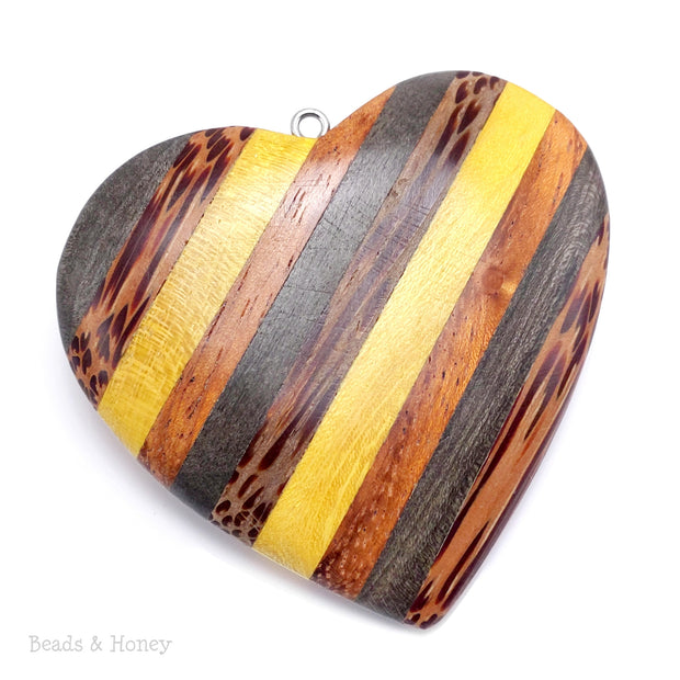 Mosaic Mixed Wood Heart Pendant with Stainless Steel Bail 56x52x10mm (1pc)