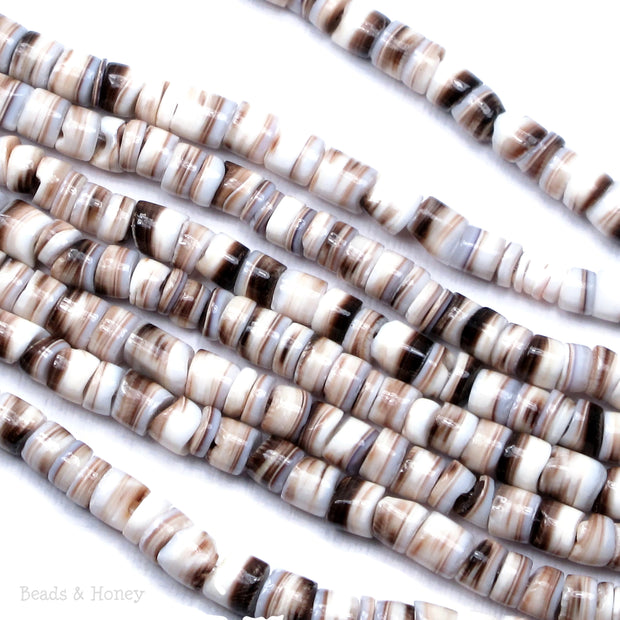 Tiger Cowrie Shell Light Heishi 4-5mm (24-Inch Strand)