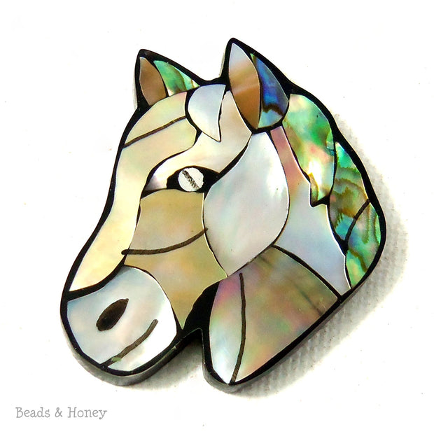 Mosaic Shell Inlaid Resin Cabochon Horse 35x30mm (1pc)
