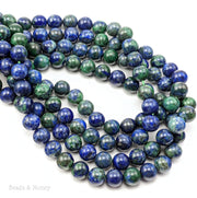 Azurite Malachite Pyrite Gemstone Beads Round 8mm (15.5-Inch Strand)