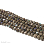 Graywood Beads with Abalone Shell Inlay Round 7mm - 8mm (8-Inch Strand)