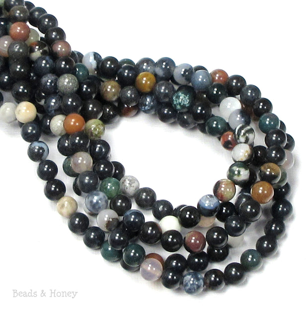 Montana Agate Beads (Dark/Opaque) Round 6mm (16-Inch Strand)