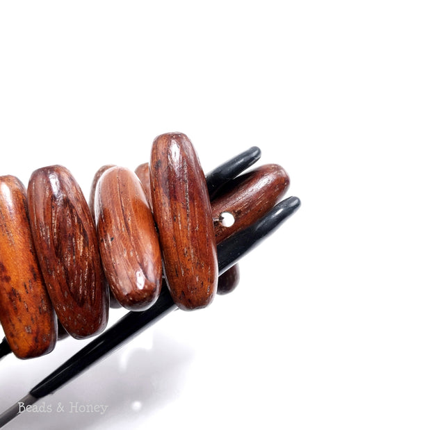 Bayong Wood Bead Capsule/Oval Side Drill 24x8mm (8-Inch Strand)