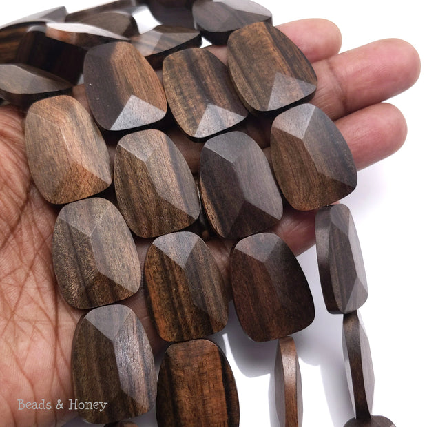 Tiger Ebony Wood Trapezoid 25x20x6mm (16-Inch Strand)