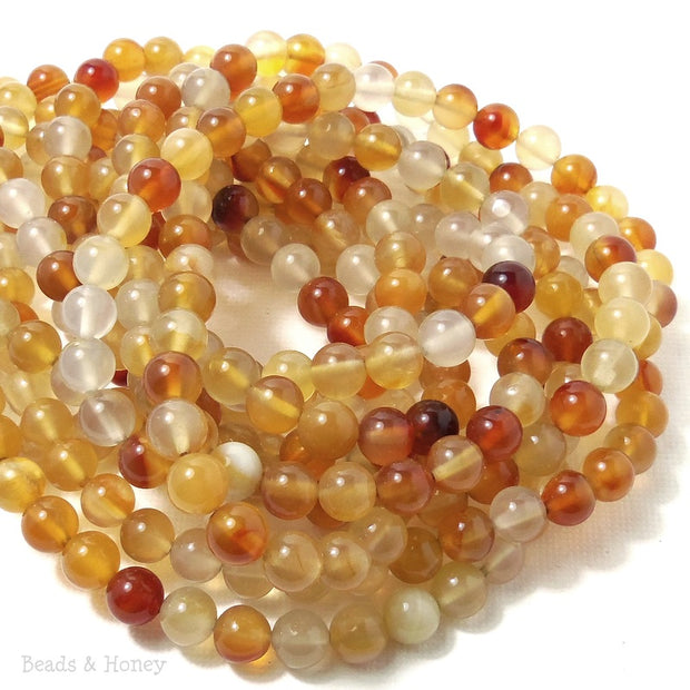 Natural Carnelian Bead Multicolored Round Smooth 6mm (16-Inch Strand)
