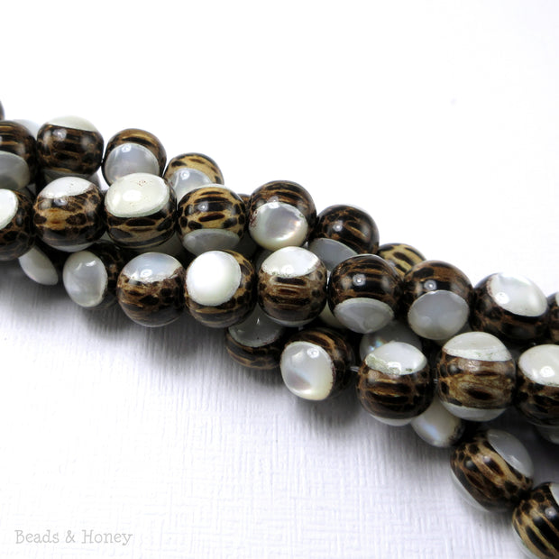 Patikan Wood Bead with White Mother of Pearl Round Inlay 8mm (8-Inch Strand)
