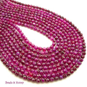 Agate Fired Magenta Round Faceted 4mm (Full-Strand)