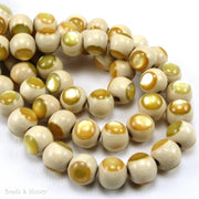 Whitewood Bead Natural with Gold Mother of Pearl Inlay Round 10mm (8-Inch Strand)