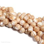 Natural Mother of Pearl Gold/White Round 10mm (15-Inch Strand)