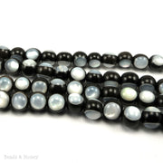 Ebony Wood Bead with White Mother of Pearl Inlay Round 8mm (8-Inch Strand)