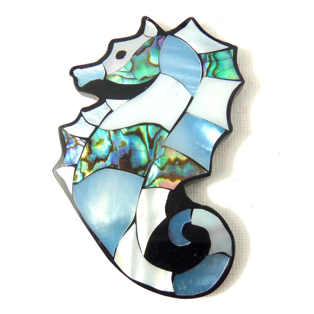 Mosaic Shell Inlaid Resin Cabochon Seahorse 70x50mm (1pc)