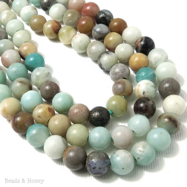 Dakota Stones Black Gold Amazonite Large Hole Bead Round 8mm (8 Inch Strand)