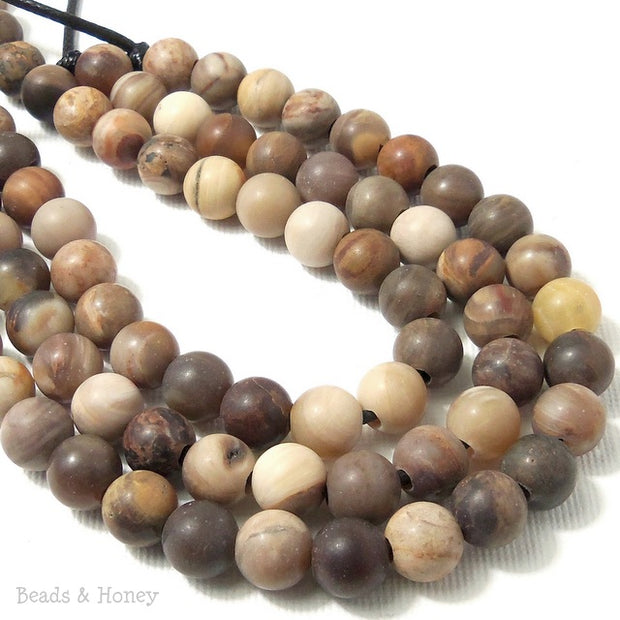 Dakota Stones Matte Wood Opalite Large Hole Bead Round 8mm (8 Inch Strand)