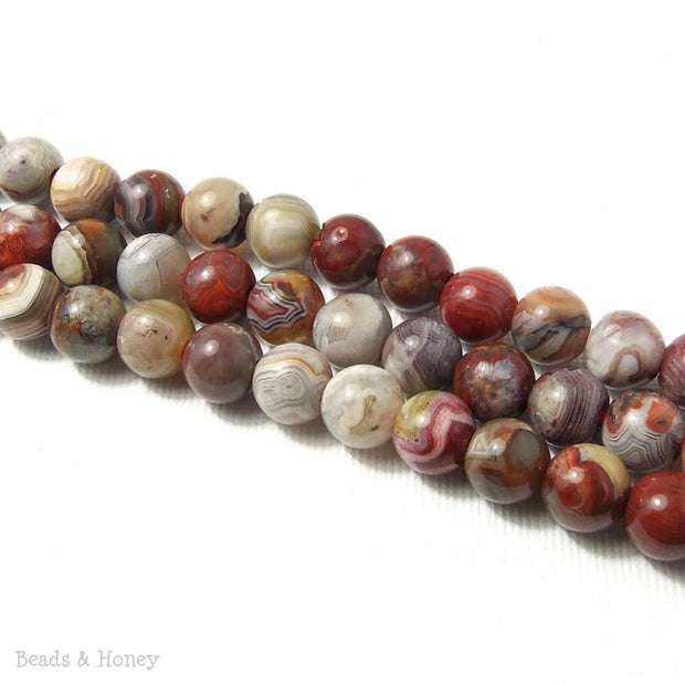Dakota Stones Mexican Laguna Lace Agate Large Hole Bead Round 8mm (8 Inch Strand)