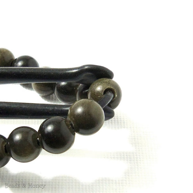 Dakota Stones Golden Obsidian Large Hole Bead Round 8mm (8 Inch Strand)