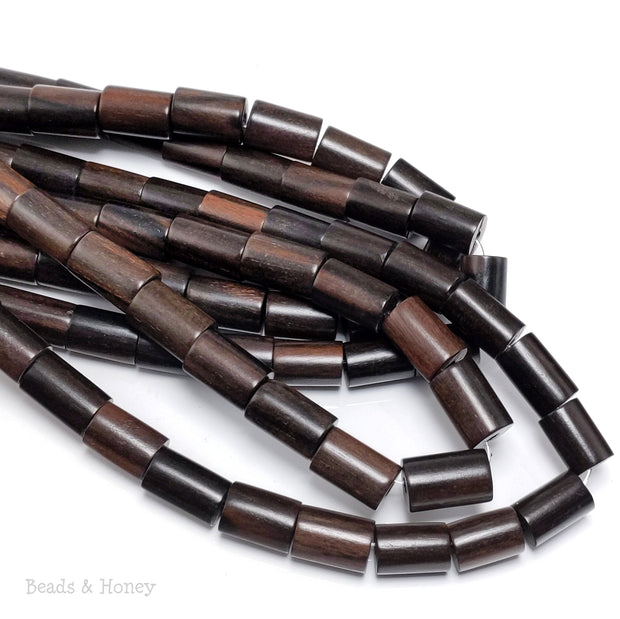 Ebony Wood Bead Round Tube 10x14mm (8-Inch Strand)