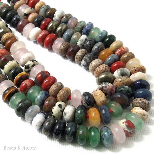 Dakota Stones Mixed Gemstones Large Hole Bead Rondelle 8mm (8 Inch Strand)