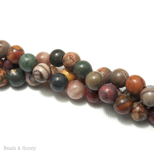 Dakota Stones Red Creek Jasper Large Hole Bead Round 8mm (8 Inch Strand)