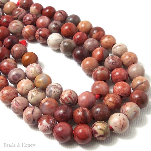 Dakota Stones Red Porcelain Jasper Large Hole Bead Round 8mm (8 Inch Strand)