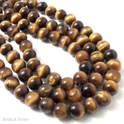Dakota Stones Tiger Eye Large Hole Bead Round 8mm (8 Inch Strand)