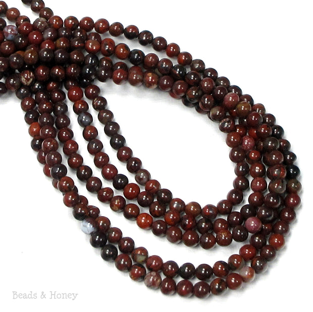 Poppy Jasper Bead Round Smooth 4mm (16-Inch Strand)