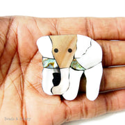 Mosaic Shell Inlaid Resin Cabochon White Elephant 38x38mm (1pc)