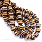 Mixed Coconut Shell Bead Brown/White Striped Round 12-14mm (16-Inch Strand)
