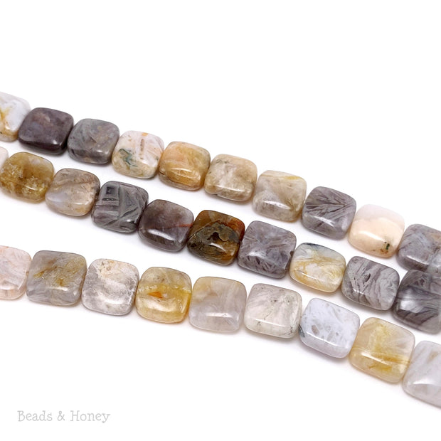 Bamboo Leaf Agate Bead Square Puff 10mm (15.5-Inch Strand)