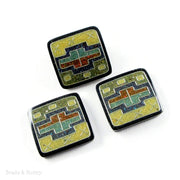 Vintage Recycled Sawdust Cabochon Square Blue/Yellow Bowtie Art Deco Design 28-30mm (1pc)