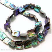 Abalone Shell Bead square Flat 10mm (Half Strand)