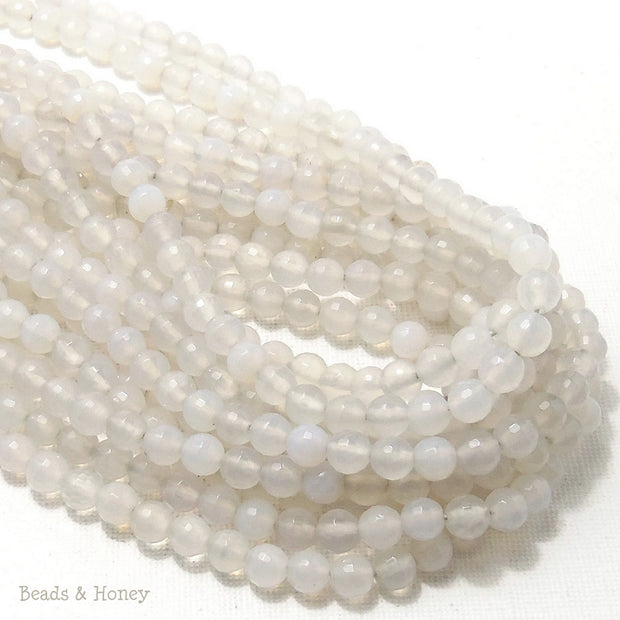 White Fired Agate Round Faceted 6mm (Full Strand)