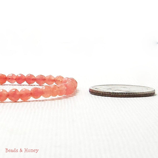 Agate Fired Salmon Pink Round Faceted 3mm (Full Strand)