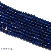 Agate Fired Dark Blue Round Faceted 4mm (Full Strand)