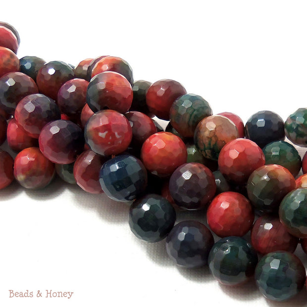 Orange Rainbow Fired Agate Round Faceted 10mm (Full Strand)