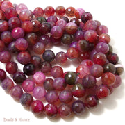 Raspberry Fired Crackle Agate Round Faceted 10mm (Full Strand)