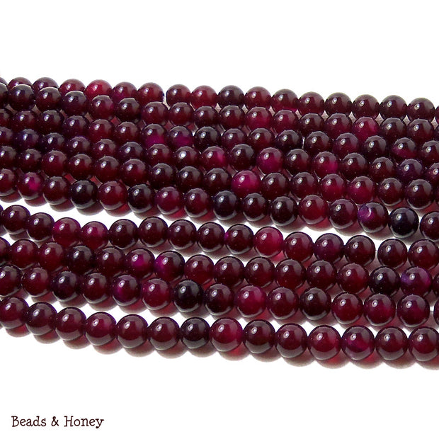 Purple Magenta Agate Dyed Round Smooth 6mm (Full Strand)