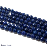 Dark Blue Agate Dyed Round Smooth 8mm (Full Strand)