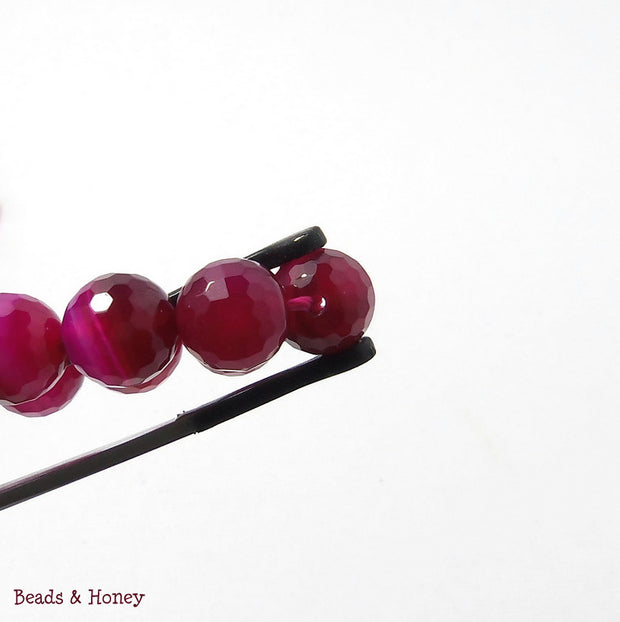 Agate Fired Magenta Banded Round Faceted 10mm (Full Strand)