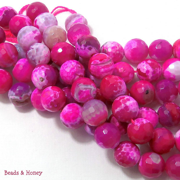 Neon Pink Fired Agate Round Faceted 12mm (Half Strand)