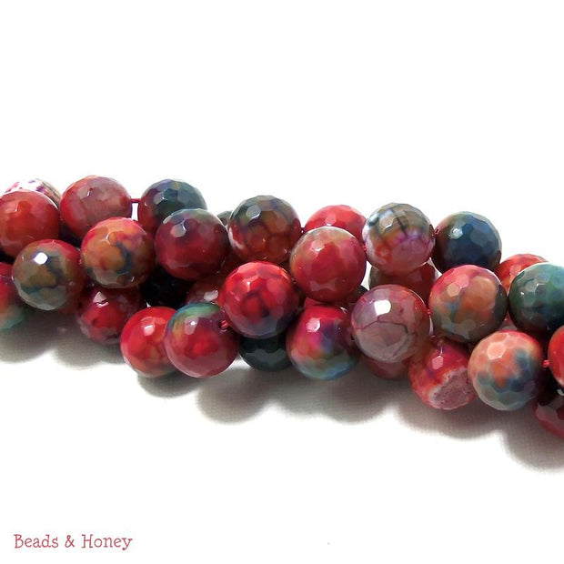 Red-Orange Teal Fired Agate Round Faceted 12mm (Half Strand)