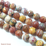 Rustic Red Yellow White Fired Agate Round Faceted 14mm (Half Strand)