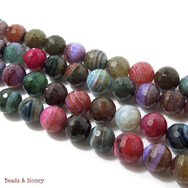 Banded Rainbow Fired Agate Round Faceted 12mm (Half Strand)