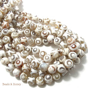 Gray/Peach Agate with Eye Pattern Round Faceted 8mm (Full Strand)