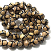 Black Agate with Yellow Turtleback Pattern Round Faceted 12mm (Half Strand, Qty Pricing)